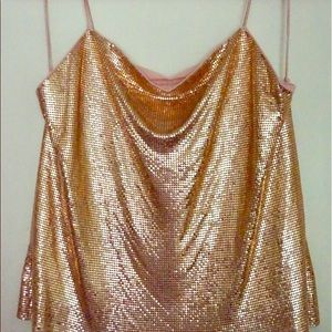 Alice + Olivia chainmail top in Rose Gold NWT